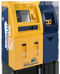 blue and yellow MV Express kiosk