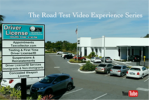 Photo of driver license building, parking lot, and sign. The sign bears the office's logo and the following text: driver license, hours 9:00 a.m. to 4:30 p.m., appointments taxcollector.com, testing and first-time driver license / ID, suspensions and reinstatements, driver license / ID services immigrants and non-immigrants, concealed weapon license. Photo also bears the YouTube logo and the following text: the road test video experience series.
